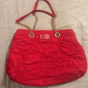 Kate Spade Cherry Red Floral Quilted Purse